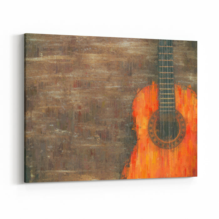 Oil Painting Style Abstract Image Of Acoustic Guitar Canvas Wall Art Print