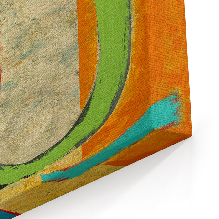 An Abstract Painting  Green Loop Canvas Wall Art Print