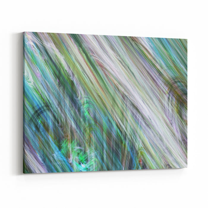 Abstract Painted Texture Chaotic Blue, Beige And Green Strokes Fractal Background Fantasy Digital Art D Rendering Canvas Wall Art Print