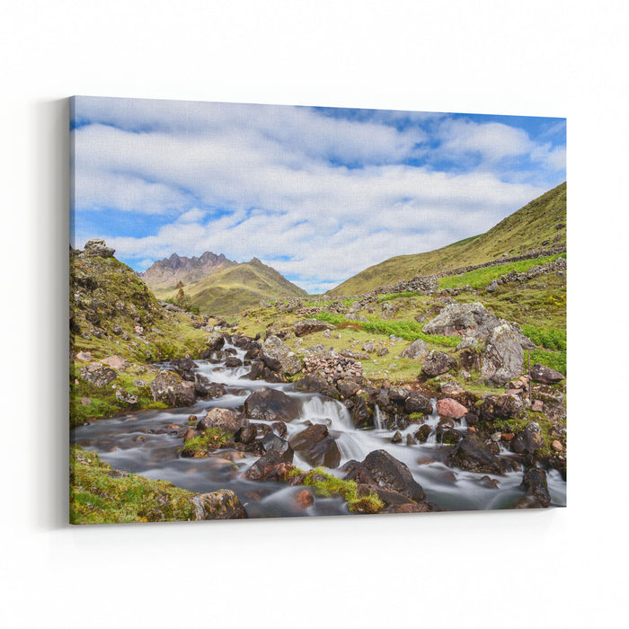 A Scenic View Of A Stream In The Lares Valley Taking During A Three Day Hike Through The Peruvian Andes Canvas Wall Art Print