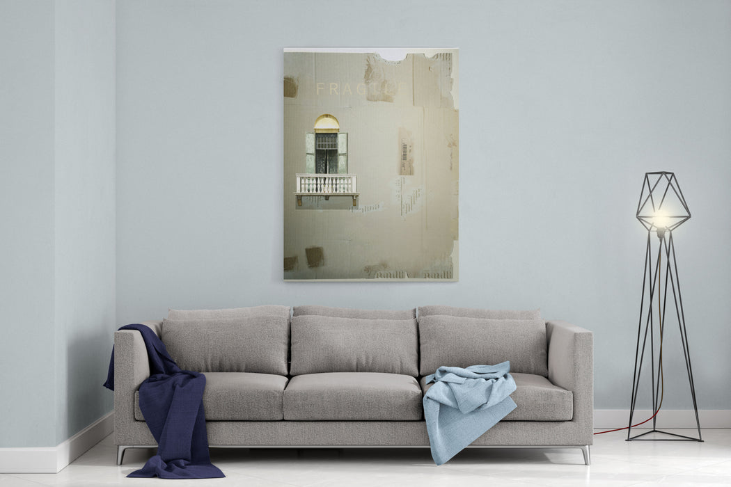 Cardboard As A Background With An Antique French Window With Balcony And Shutter On It Canvas Wall Art Print