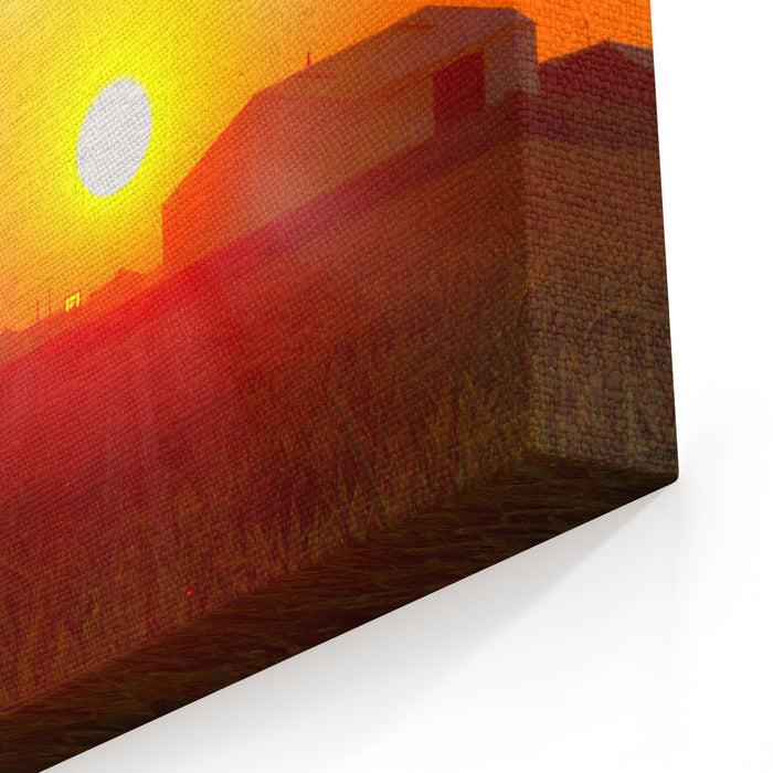 Brilliant Orange Sunrise Over A Corn Field In Iowa, And Barn With A Bright Yellow Sun On A Cool Fall Morning Canvas Wall Art Print