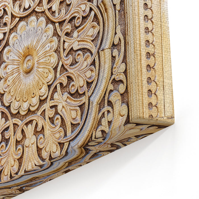 Amazingly Beautiful Traditional Uzbek Floral Ornament Carved On The Wooden Door Of The Mosque Canvas Wall Art Print