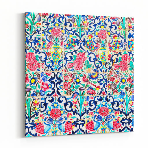 Blur In Iran The Old Decorative Flower  Tiles From Antique Mosque Like Background Canvas Wall Art Print