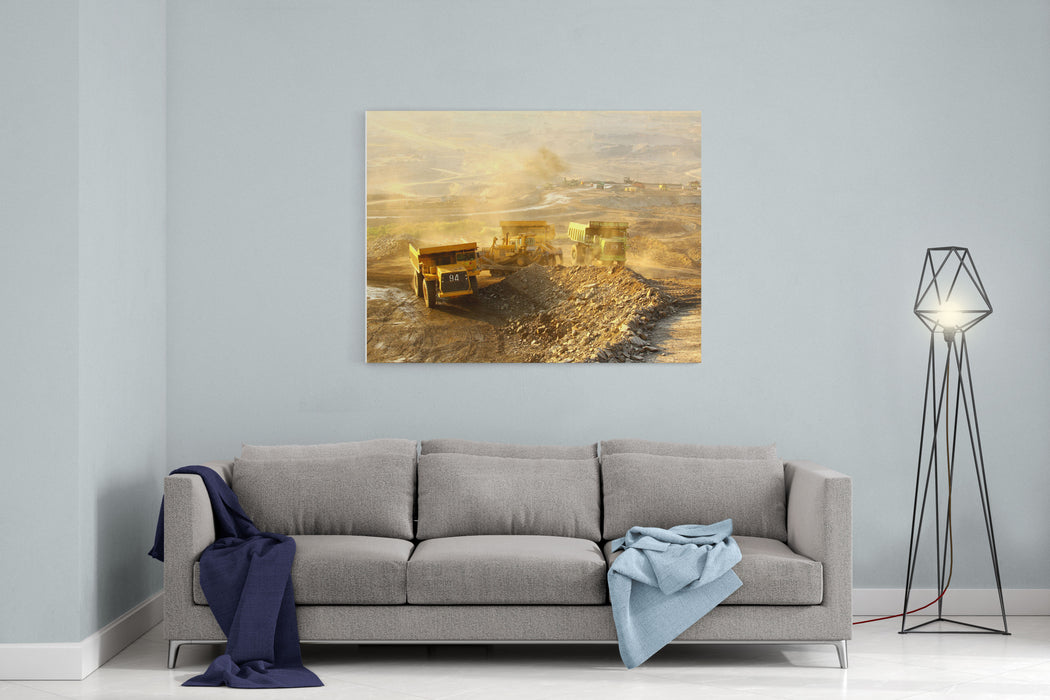 The  Trucks At Worksite Canvas Wall Art Print