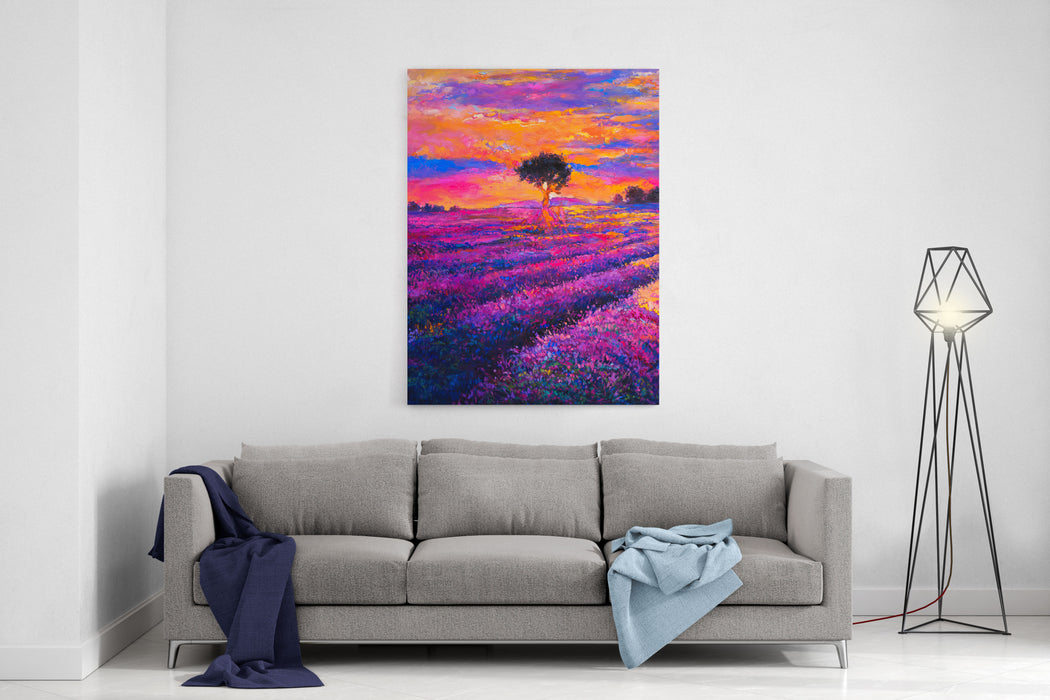 Original Oil Painting On Canvas Lavender Landscape With Tree Modern Art Canvas Wall Art Print