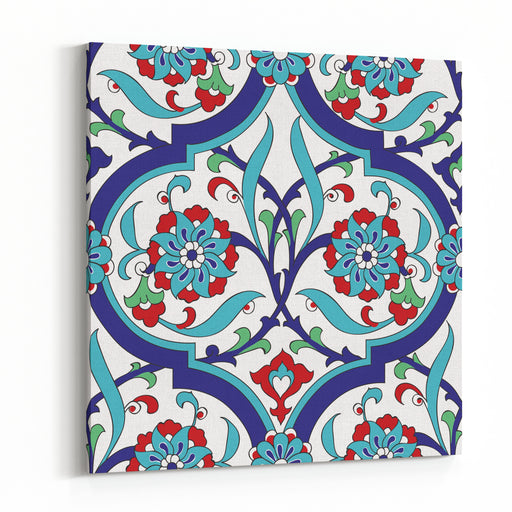 Iznik Tile Seamless Pattern Design, Classical Ottoman Turkish Style Floral Decoration, Repeating Background With Stylized Flowers In Quatrefoil Grid Canvas Wall Art Print