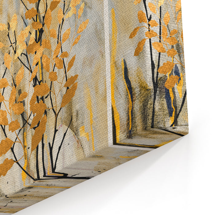 Collection Of Designer Oil Paintings Decoration For The Interior Modern Abstract Art On Canvas Set Of Pictures With Different Textures And Colors Golden Leaves On TreesGray Background Canvas Wall Art Print