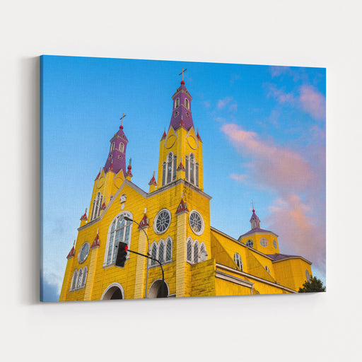The Church Of San Francisco In The Main Square Of Castro At Chiloe Island In Southern Chile Canvas Wall Art Print