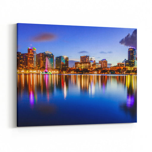 A Lovely Sunset In Downtown Orlando, FL Canvas Wall Art Print