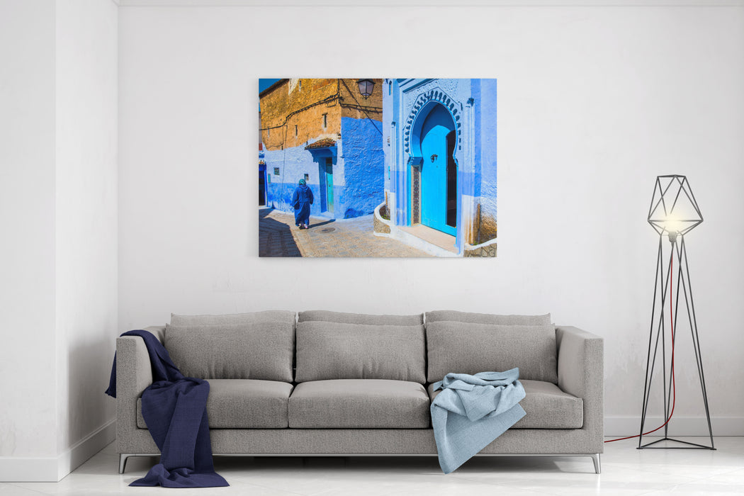 Amazing View Of The Street In The Blue City Of Chefchaouen Location Chefchaouen, Morocco, Africa Artistic Picture Beauty World Canvas Wall Art Print