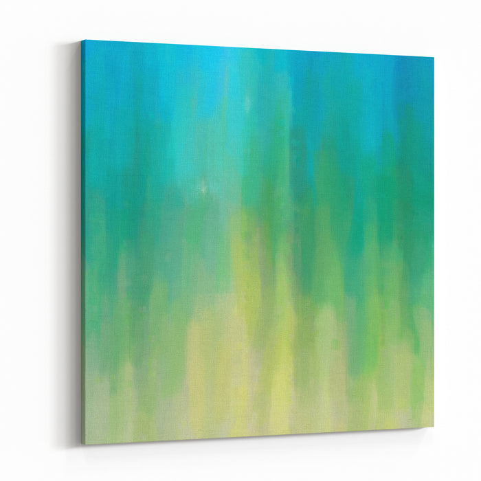 Digital Structure Of Painting Abstract Oil Paint Blue Green Background Canvas Wall Art Print