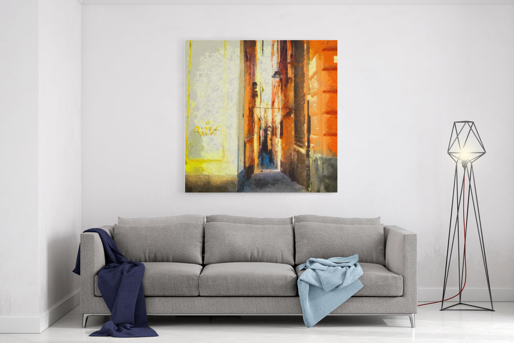Beauty Vintage Italian Street Large Size Watercolor Painting Contemporary Pictorial Art Modern Drawing Artwork Creative Artistic Print For Canvas Or Textile Wallpaper, Poster Or Postcard Design Canvas Wall Art Print