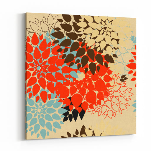 Floral Background Summer Colour Seamless Floral Pattern With Stylized Flower Canvas Wall Art Print