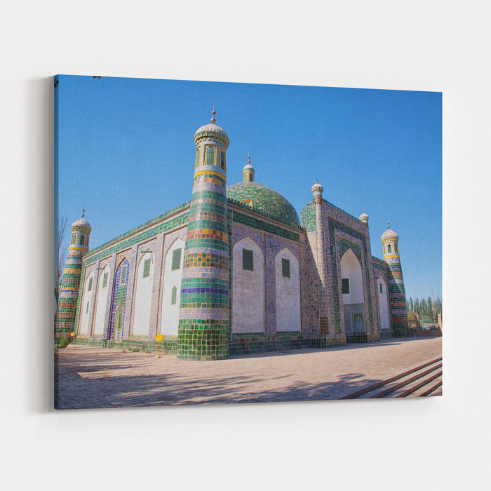 The Tomb Of Afaq Khoja In Kashgar Is Considered The Holiest Muslim Site In Xinjiang In Summer, People Who Travel In Kashgar All Will Travel In The Tomb Canvas Wall Art Print