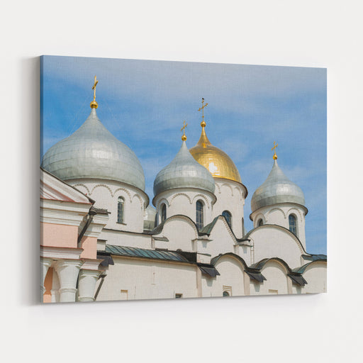 St Sophia Cathedral In Veliky Novgorod, Russia Architecture Closeup Of Veliky Novgorod Russia Landmark Canvas Wall Art Print