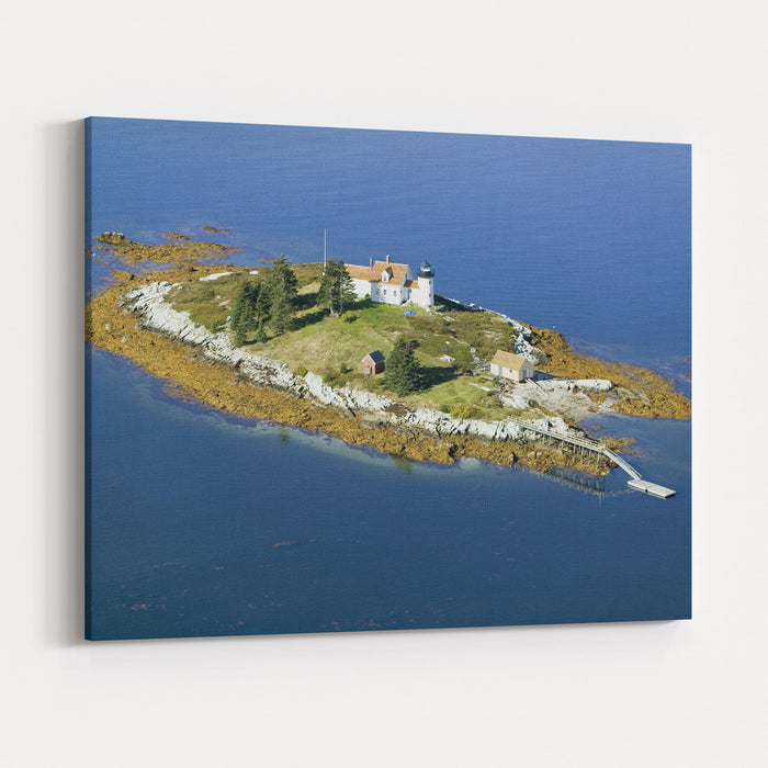 Aerial View Of An Island And Lighthouse Near Acadia National Park, Maine Canvas Wall Art Print