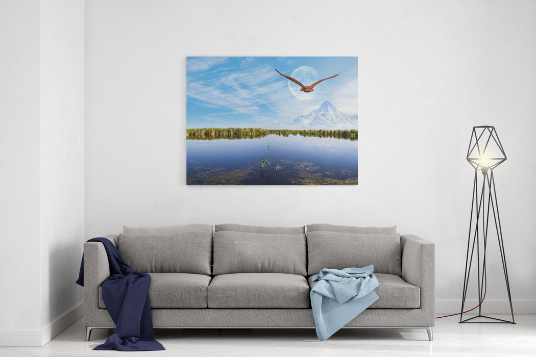 Beautiful Landscape And Sultanmarshes Bird Paradise Next To Erciyes Mountain, Kayseri  Red Tailed Hawk Flying Canvas Wall Art Print