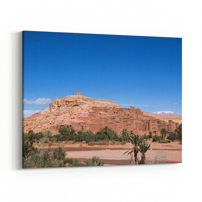 Village Ait Ben Haddou, Morocco Desert Landscape With Oasis And Atlas Mountains On The Background Traditional Build Houses High View Point With Scenic Landscape Canvas Wall Art Print