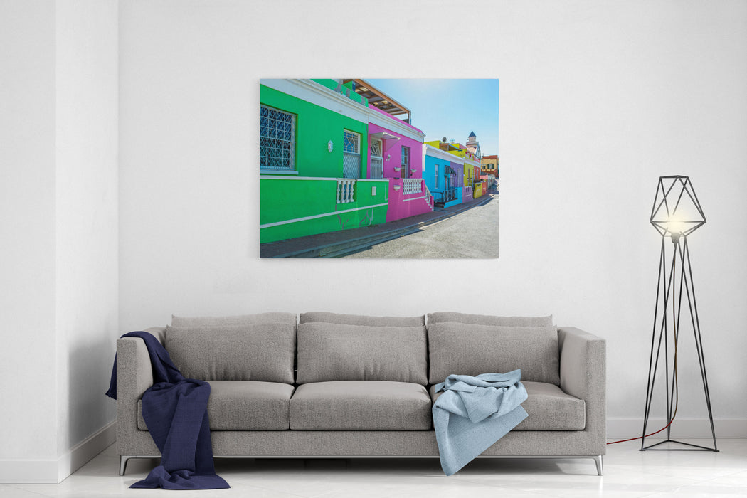A Colorful Street View Of The Malay Quarter Of Bo Kaap In Cape Town With Its Traditional Architecture, South Africa Canvas Wall Art Print
