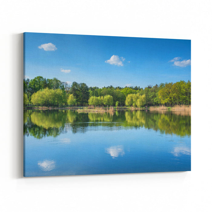 Amazing Landscape With A Lake And Reflection Of The Sky And Trees In Water Canvas Wall Art Print