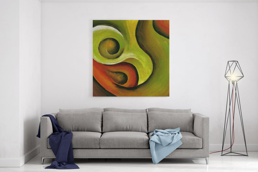 A Swirly Red And Green Acrylic Abstract Painting Raster Canvas Wall Art Print