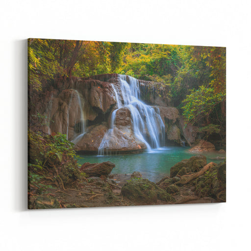 Water Falls Landscape Colorful ,Huay Mae Kamin Thailand Waterfall In Kanjanaburi Canvas Wall Art Print
