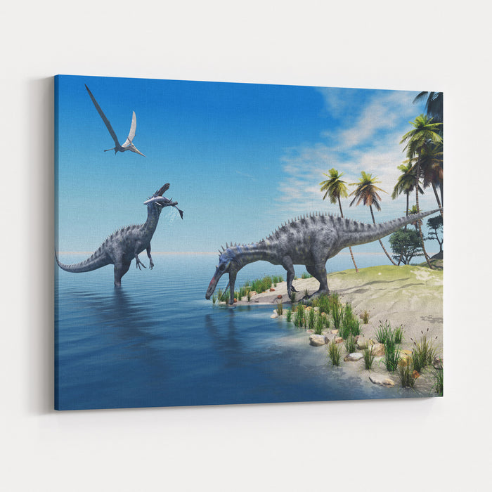 Suchomimus Dinosaurs  A Large Fish Is Caught By A Suchomimus Dinosaur While A Flying Pterosaur Dinosaur Watches For Scraps To Eat Canvas Wall Art Print