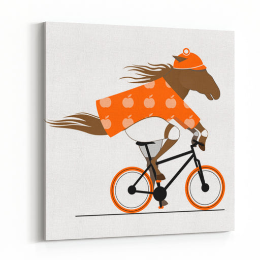 A Dappled Horse Riding A Bicycle Cycle Caricature Funny Vector  Illustration Of A Cycling Horse Canvas Wall Art Print