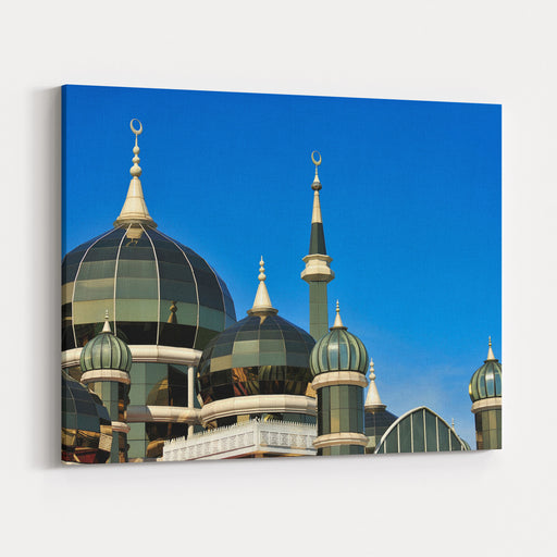 Muslim Mosque , Crystal Mosque,, Terengganu, Malaysia  Mosque Minarets And Dome Contrasting With A Blue Sky, Soft Image Canvas Wall Art Print
