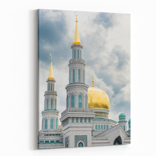 Main Dome Of Moscow Cathedral Mosque, Modern Muslim Architectural Landmark Of East Architecture, Great Islamic Church In Moscow, Russia Canvas Wall Art Print
