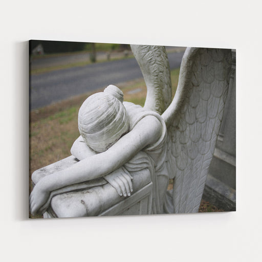 Christianity And Religious Iconography Angel Statue Figurine In A Graveyard Canvas Wall Art Print