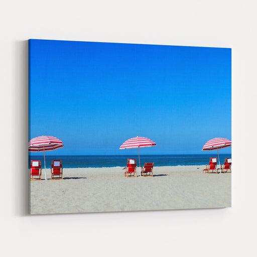 Three Sun Umbrellas At Santa Monica Beach Canvas Wall Art Print