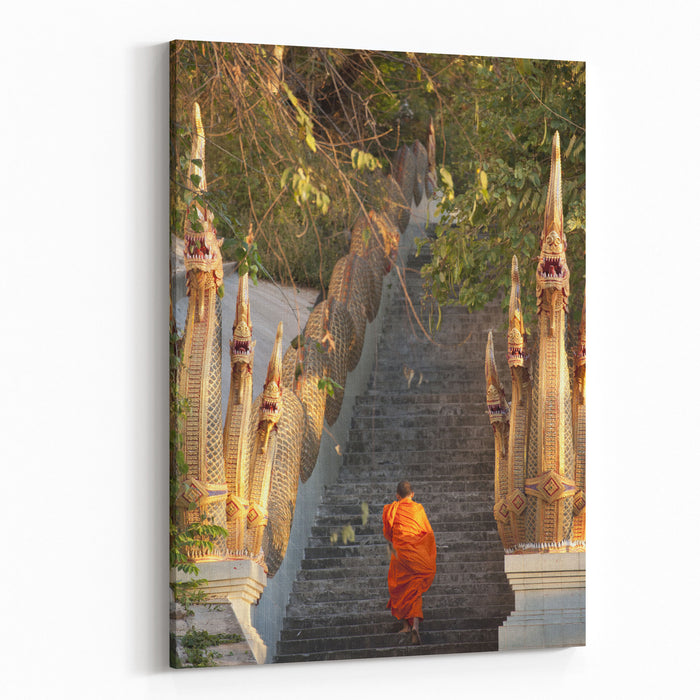 Barefooted Buddhist Monks In Chiang Mai Thailand Canvas Wall Art Print