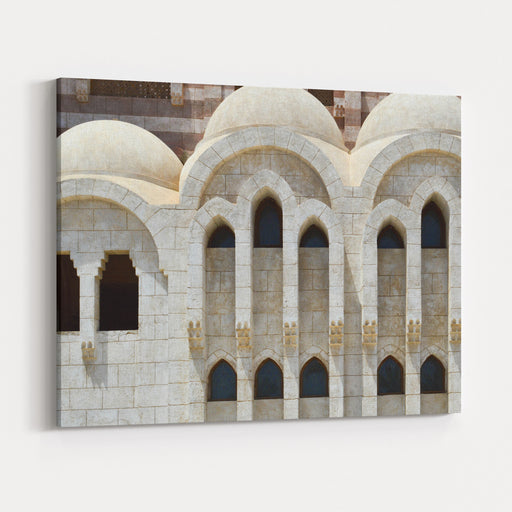 A Wall With A Beautiful Texture Of A Muslim Islamic Arab Mosque Made Of White Bricks Is An Architectural Structure With Arches, Domes And Doors And Carved Triangular Windows The Background Canvas Wall Art Print