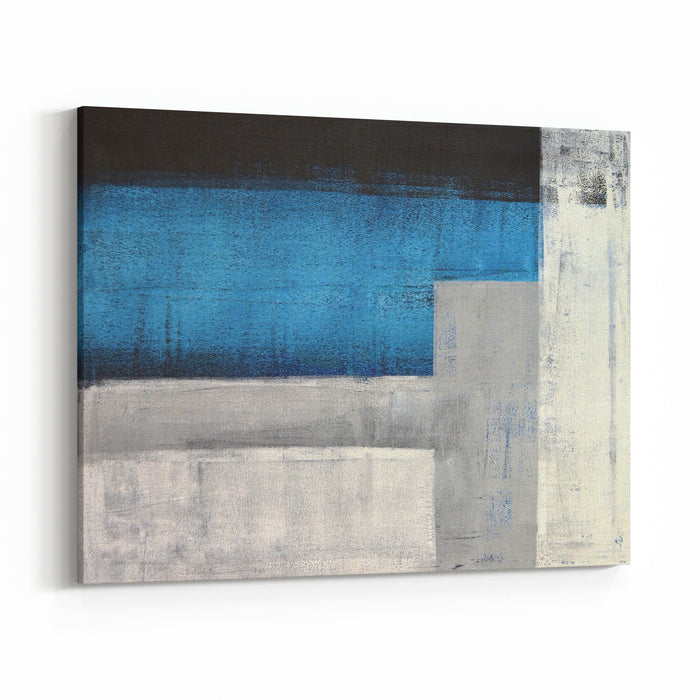 Teal And Grey Abstract Art Painting Canvas Wall Art Print