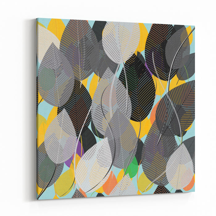 Abstract Foliage Seamless Pattern Background Canvas Wall Art Print