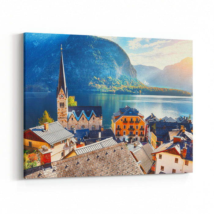 Scenic View Of Famous Hallstatt Mountain Village With Hallstatter Lake Sunny Autumn Sunrise On Hallstatt Lake Location Resort Village Hallstatt, Salzkammergut Region, Austria, Alps Europe Canvas Wall Art Print