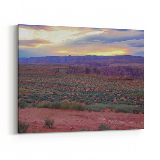 Sunset Over The Arizona Desert Landscape,  Photo Taken At The Horseshoe Bend National Park  Pink, Green, Red, Orange, Blue Natures Landscape Colors Are So Amazing To See And Try To Capture Canvas Wall Art Print