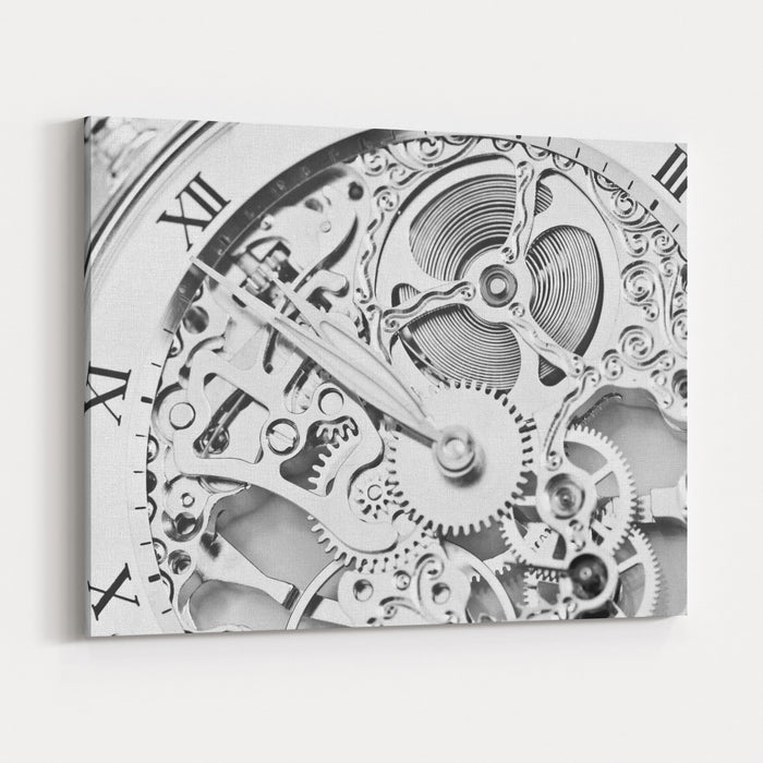 Black And White Close View Of Watch Mechanism Canvas Wall Art Print