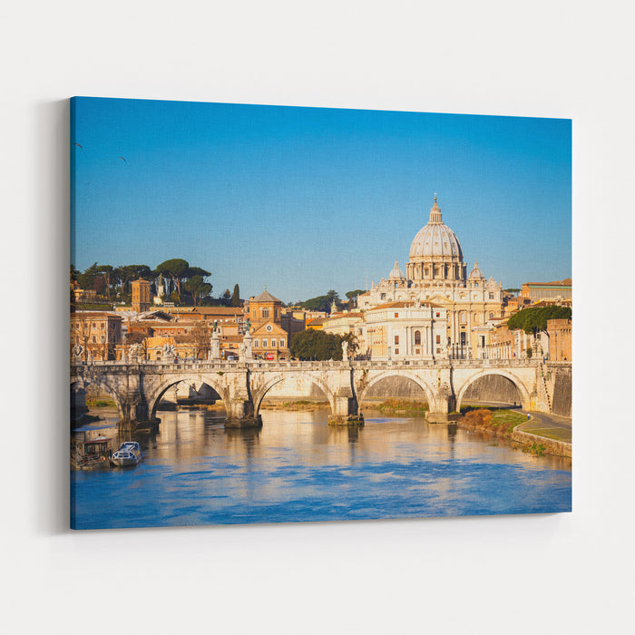 View At Tiber And St Peters Cathedral In Rome, Italy Canvas Wall Art Print