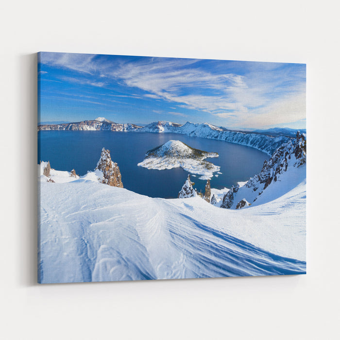Winter Scene At Crater Lake Volcano Canvas Wall Art Print