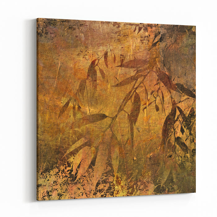 Art Sketched Autumn Leaves Golden And Brown Graphic Background Canvas Wall Art Print