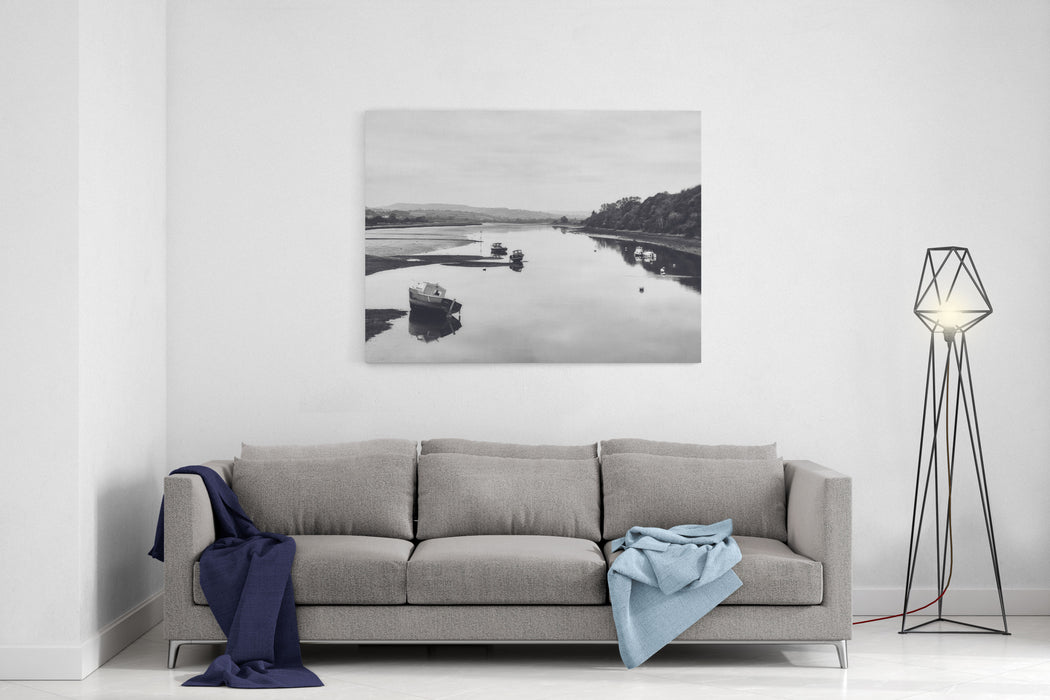 A Black And White Photo Of A Countryside Scene Including A River Or Estuary With The Tide Out Boats On The Water With Reflections Axe River  Estuary In Seaton, Devon, England, UK Canvas Wall Art Print