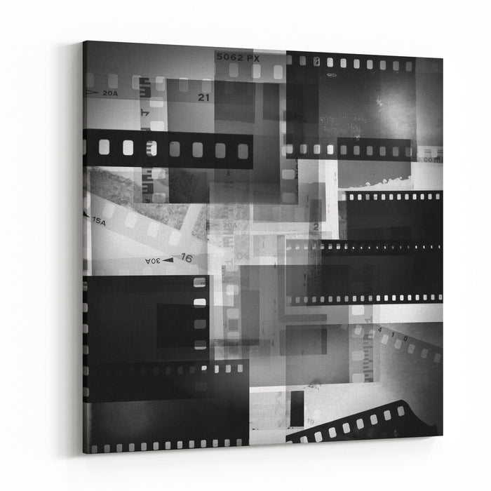 Film Negatives Overlapping, Black And White Canvas Wall Art Print ...