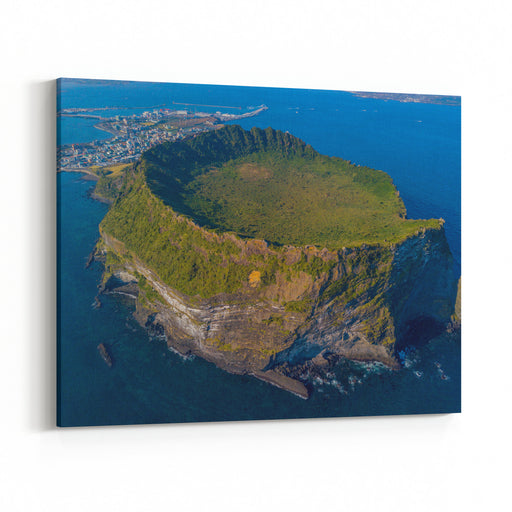 Aerial View Of Seongsan Ilchulbong, Jeju Island South Korea Tourism Place Canvas Wall Art Print