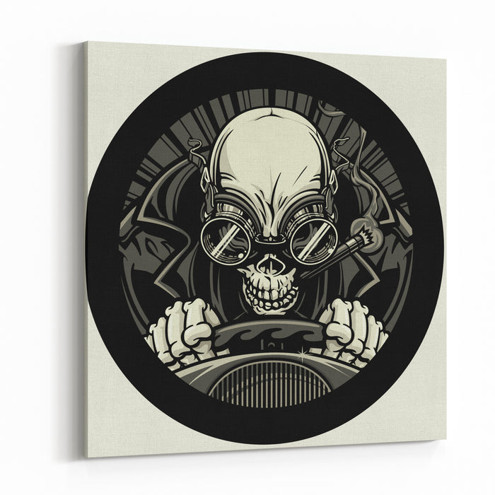 Undead Stock Car Racer Vector Illustration Of A Skeleton Smoking A Cigar While Wearing A Leather Racing Jacket And Goggles He Grips The Steering Wheel Tightly As He Approaches The Finish Line Canvas Wall Art Print