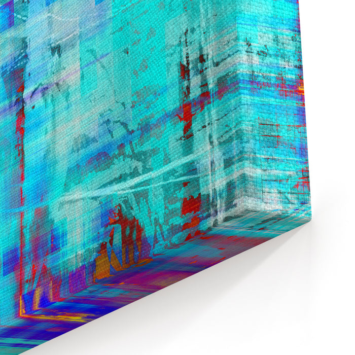 Art Abstract Bright Cyan Grunge Background With Blue, Red And Yellow Blots Canvas Wall Art Print