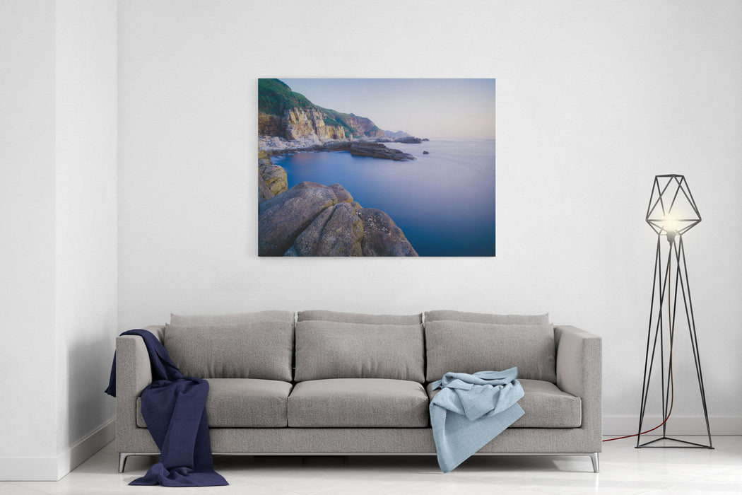 Longdong Bay Cape Coast Landscape  Northeast And Yilan Coast National Scenic Area Long Exposure At Dawn, Shot In Gongliao District, New Taipei, Taiwan Canvas Wall Art Print