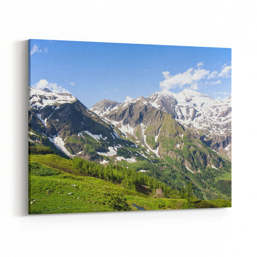 Grossglockner Hochalpenstrasse Nature Reserve  Scenic Alpine Landscape And Snowcapped Mountains In Austria Canvas Wall Art Print